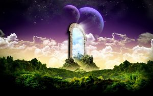 Shining portal in a dreamscape sky.